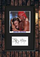 (#224) john cena & hulk hogan  signed a4 photo//framed (reprint) great gift