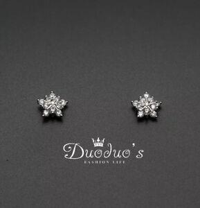 925 Sterling Silver Zircon Snowflake Stud Earrings