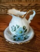 VTG Enesco Japan Ceramic Pitcher/Jug & Basin/Dish Blue Flowers Gold Edges