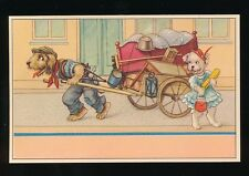 Dogs Anthropomorphic moving home unknown artist printed in Belgium PPC c1940/50s
