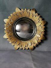Glace / miroir soleil Sidonie doré patiné et noir, oeil de sorcière Diam 20 cm