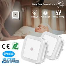 4×Plug-in Auto Sensor Control LED Night Light Lamp with Auto Sensor Photocell US