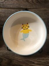 Mercat Ceramic Signature Housewares Cat Food Dish Blue and White Ocean