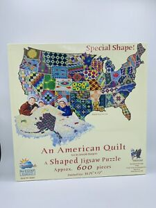 An American Quilt Jigsaw Puzzle USA Map Shaped Sunsout 600 Pieces New