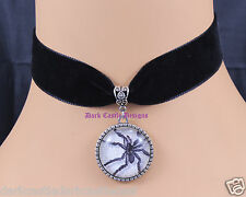 Goth Black Velvet Choker Necklace Big Spider Cameo Pendant Wicca Pagan Punk  UK