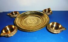 Set of Hindu Puja Brass Thali OM wit 4 brass Diya Kuber Diwali Aarti Navratra