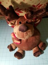 Soft Hearted Friends Brand - Round Soft Reindeer Plush Wearing A Scarf & Hat