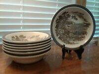 """Set Of Seven Enoch Wedgewood Tunstall Ltd Countryside Cereal/Soup Bowls 6 1/2"""" D"""