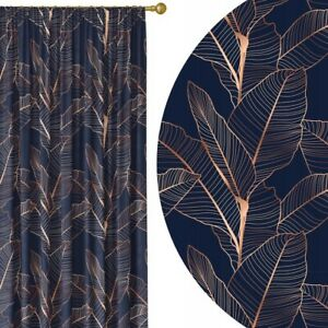 Elegant Curtains 55'' x95'' Pencil Pleat Curtains Living Room Bedroom Navy Gold