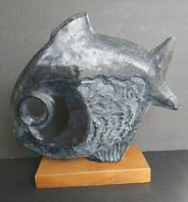 1970 Austin Production by Klara Sever carved stone fish sculpture Signed & Dated