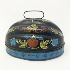 Vintage Maxey Folk Art Hand Painted Tole Toleware Metal Box Pennsylvania Dutch