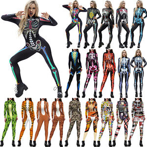 Womens 3D Printed Jumpsuit Catsuit Fancy Dress Cosplay Costume Skeleton Outfits