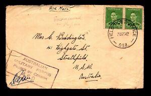 Australia 1942 Military Censor Cover, edge tears - L13971