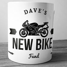 NEW MOTORBIKE FUND PERSONALISED CERAMIC MONEY BOX PIGGY BANK PENNY JAR BIKER