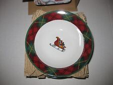 """BLOCK FATHER CHRISTMAS MULTI COLOR  GEAR 4  NIB HOLIDAY PLATES 4 CEREAL  7"""" 1995"""