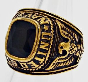 MEN RING ONYX EMERALD CUT STAINLESS STEEL GOLD US MILITARY SOLDIER SIZE 9.25