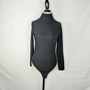 Fogal Black Ribbed Mock Neck Bodysuit Thong Sz M Long Sleeve Snap Button