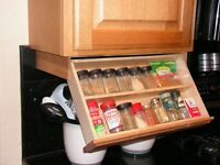Under Cabinet Spice Rack - Drawer Unfinished Oak hardwood - tilt down