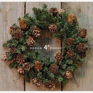 """Primitive PINE WREATH Candle Ring w/Pinecones -- 4"""" Opening with 8""""- 9"""" Spread"""