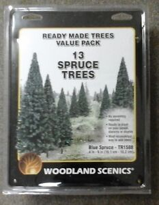 "Woodland Scenics 13 BLUE SPRUCE TREES 4""-6"" Ready Made Model Railroad # TR1588"