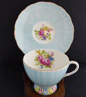 Foley Tea Cup Saucer 02404 Hand Painted Blue Ombre Floral Footed England Vintage
