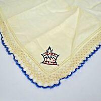 """Vintage White Cotton Handkerchief Hankie Crochet Blue Lace Edge Crown EUC 11"""""""