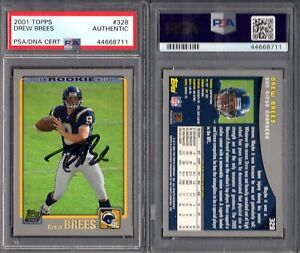 PSA DNA 2001 Topps #328 Drew Brees RC Autographed Signed POP10 Chargers G00 2495