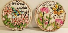 Set of 2 Welcome Stones Garden Yard Patio Decor Butterfly Dragonfly Flowers
