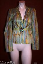 CYNTHIA STEFFE   LONG  SLEEVE TOP BROCH FRONT CLOSURE MULTI COOR POLYESTER  S