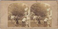 Giardinaggio Scena Da Genere Foto Stereo Vintage Albumina Ca 1865