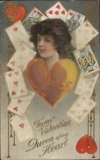 Valentine Beautiful Woman Playing Cards QUEEN OF MY HEART c1910 Postcard