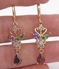 """18K Gold Filled 1.7"""" Earrings Amethyst Emerald Mandarin Duck Ruby Topaz Petal DS"""