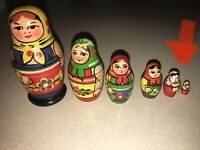 Vintage Matryoshka 5 Wooden Nesting Stacking Dolls Hand Painted Made in USSR