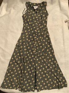 Vintage 90s Jody California USA Made Size 7 Button Dress Corset Back Sleeveless