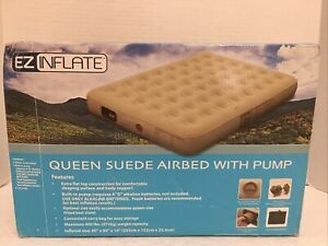 New in Box*EZ Inflate Queen Suede Airbed/Mattress with Built-in Pump