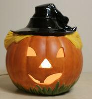 """Vtg Large 12""""  Lighted Ceramic Halloween Jack O Lantern Pumpkin Handcrafted"""