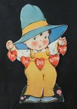 Adorable 1920's Valentine Boy with Big Blue Hat String of Hearts V182