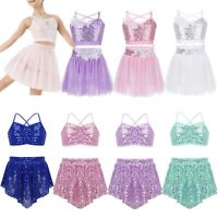 Girls Gymnastics Ballet Dress Sequins Leotards Kids Lyrical Dance Show Costumes