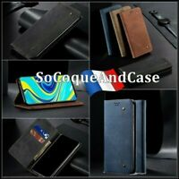 Etui coque housse Cloth Jean Design PU Leather wallet case cover Xiaomi Poco M3
