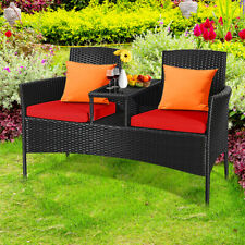 Outdoor Rattan Furniture Wicker Patio Conversation Chair W/Cushion Red