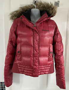 Ladies Girls Marmot Goose Down Winter Jacket Coat Adult XS 8 Hooded Red Puffer