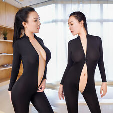 Women Shiny Two Way Double Zipper Open Crotch Bust Transparent Lingerie Bodysuit