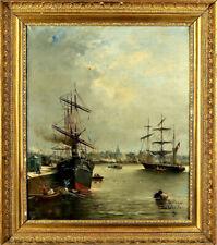 Rihart C. Schiffenmotiv Bologne Frankreich Antike Ölgemälde Maritime Kunst 1900