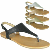 Ladies Comfy Flat Summer Toe-Post Shiny Slingback New Womens Sandals Shoes Size