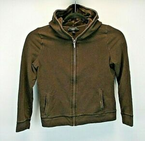 Talbots Petites Women's Medium Petite Hoodie Brown Velour Hood Thick Full Zip