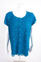 New York & Company Women's Blouse Lace Shirt XL Blue Short Sleeve NWOT Career