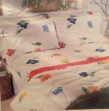 Vtg Martex Twin Sheet Set Cut Flowers Mod Look Fitted Flat 2 Pillowcase No Iron
