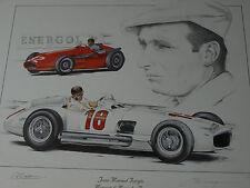 Juan Manuel Fangio F1 Tributo Maserati 250F Mercedes W196 Impresión Cartel Pintura