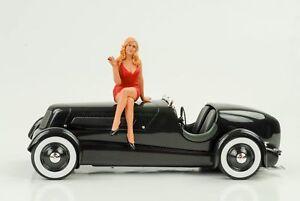 70`S Cool Chica Figura Figuras Hot Rod Racing 1:18 American Diorama IV N º Coche