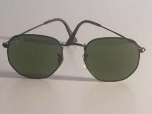Ray-Ban RB3548 Hexagonal Unisex Sunglasses Black Frame/Green Gradient Flat Lens